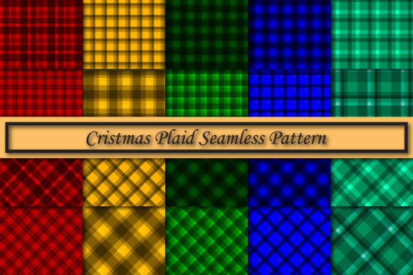 Print on Demand: Christmas Plaid Seamless Pattern Graphic Patterns By Mahesa Design