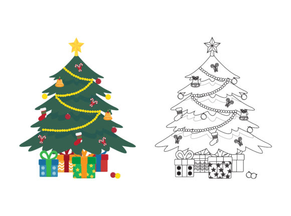 Christmas Tree Fill Outline Icon Graphic Illustrations By printablesplazza