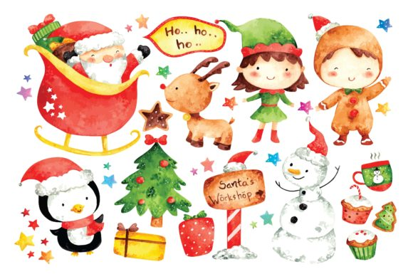 Christmas Cartoon Character Watercolor Graphic Illustrations By Big Barn Doodles