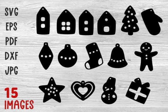 Christmas Earrings Svg Files for Cricut Graphic Crafts By GreenWolf Art