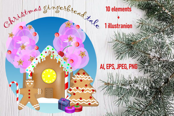 Print on Demand: Christmas Gingerbread Tale. Graphic Illustrations By ladyangelika71
