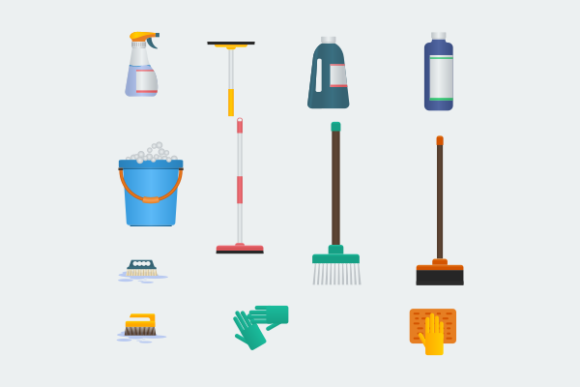 Cleaning Tools Illustration Icons Set Graphic Web Elements By faqeeh