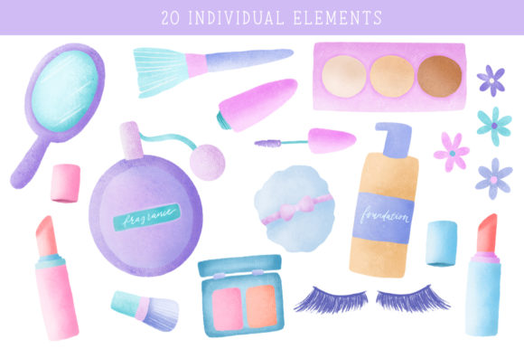 Crazy Bout Cosmetics Clipart Set Graphic Illustrations By Naughty Pen