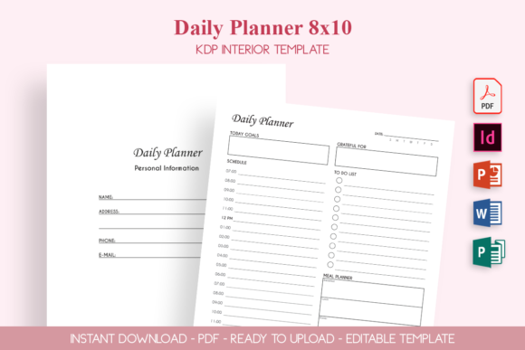 Print on Demand: Daily Planner 8x10 Graphic KDP Interiors By ZOMIDESIGN