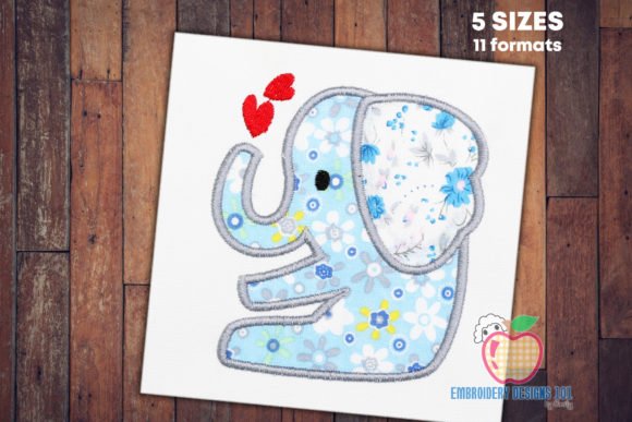 Elephant in Love Applique for Kids Baby Animals Embroidery Design By embroiderydesigns101
