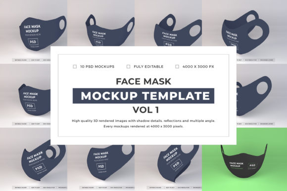Print on Demand: Face Mask Mockup Template Bundle Vol 1 Graphic Product Mockups By dendysign