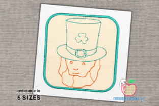 Face of the St.Patricks Inside a Box St Patrick's Day Embroidery Design By embroiderydesigns101