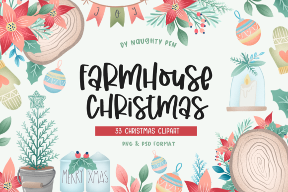 Farmhouse Christmas Clipart Graphic Illustrations By Naughty Pen