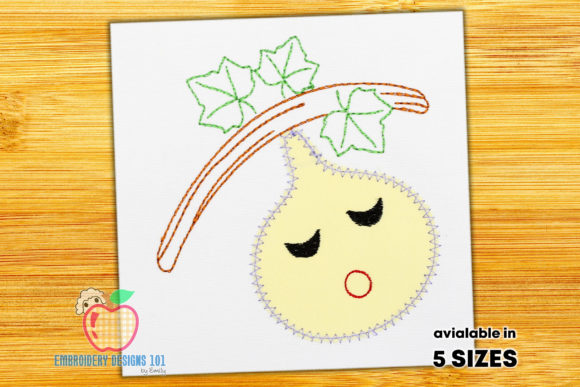 Fig Sleeping with an Open Mouth Stitch Food & Dining Embroidery Design By embroiderydesigns101