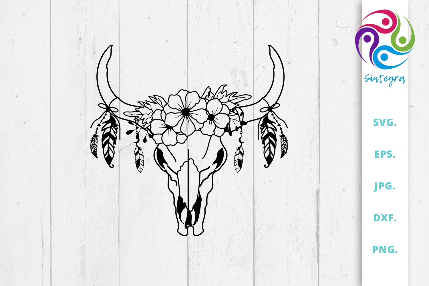 Floral Cow Skull with Feathers Svg File SVG File