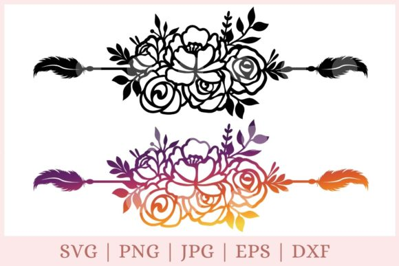 Floral Boarder Svg, Text Divider Svg Graphic Print Templates By CrazyCutDesigns