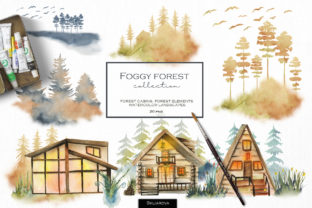 Foggy Forest Cottages and Landscapes Graphic Illustrations By HappyWatercolorShop