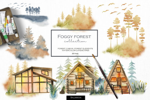 Foggy Forest. Cottages & Landscapes. Graphic Illustrations By HappyWatercolorShop