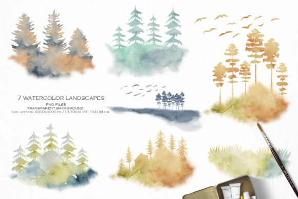 Foggy Forest Cottages and Landscapes Graphic Item
