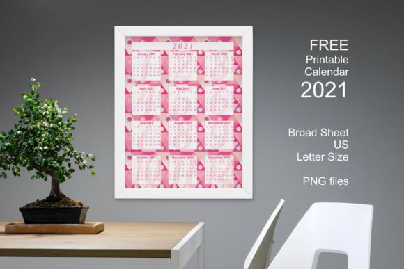 Free Printable Pink Calendar 2021 Graphic