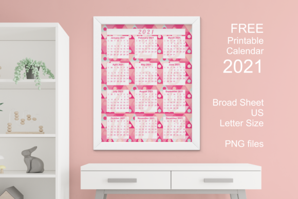 Free Printable Pink Calendar 2021 Graphic Download