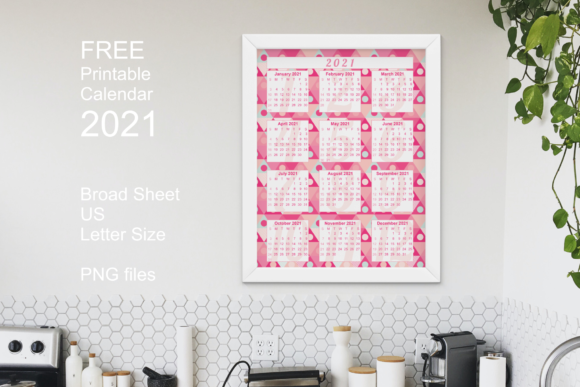 Free Printable Pink Calendar 2021 Graphic Item
