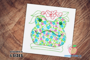 Frog Face Made with the Flower Reptiles Embroidery Design By embroiderydesigns101