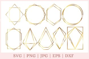 Geometric Frame, Polygonal Frames Graphic Print Templates By CrazyCutDesigns