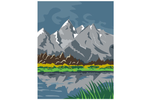 Print on Demand: Grand Teton National Park Wyoming WPA Graphic Illustrations By patrimonio