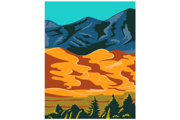 Print on Demand: Great Sand Dunes National Park Colorado Graphic Illustrations By patrimonio
