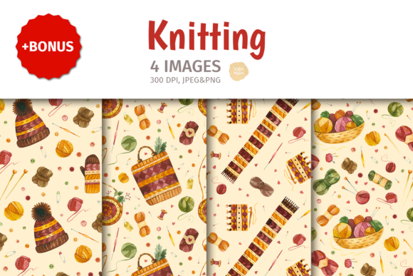 Print on Demand: Knitting & Crochet. Watercolor Patterns Graphic Patterns By ValinMalin