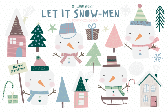 Print on Demand: Let It Snow-Men Clipart Set Graphic Illustrations By poppymoondesign