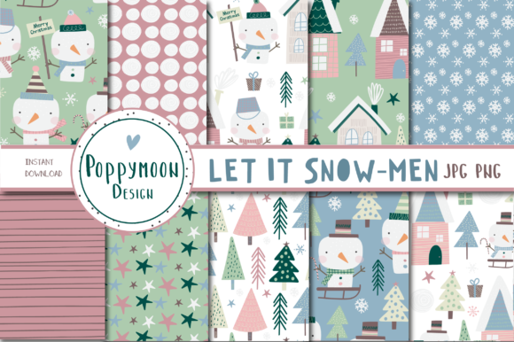 Print on Demand: Let It Snow-men Paper Set Gráfico Moldes Por poppymoondesign