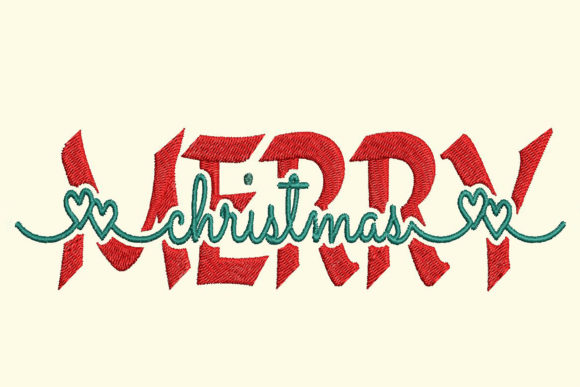 Merry Christmas Contemporary Split Text Embroidery