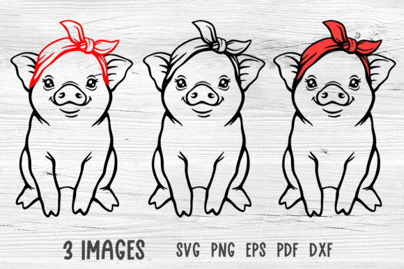 Pig with Bandana Svg Graphic Crafts By GreenWolf Art