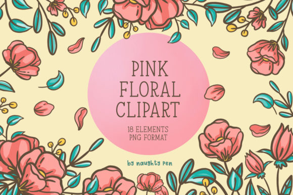 Pink Floral Clipart Set Graphic Illustrations By Naughty Pen