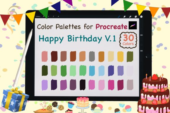 Procreate Color Palettes-Birthday V.1 Graphic Add-ons By jennythip