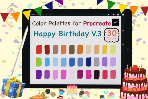 Procreate Color Palettes-Birthday V.3 Graphic Add-ons By jennythip
