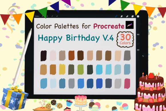 Procreate Color Palettes-Birthday V.4 Graphic Add-ons By jennythip