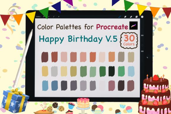 Procreate Color Palettes-Birthday V.5 Graphic Add-ons By jennythip