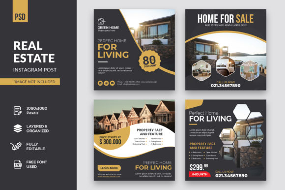 Real Estate Instagram Post Graphic Web Elements By kdadan97