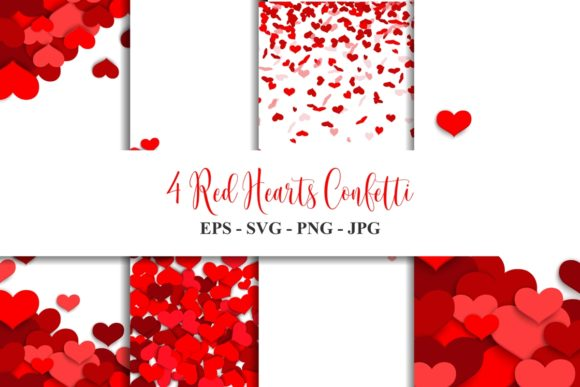 Red Hearts Confetti Vector Bundle Graphic Backgrounds By Ka Design