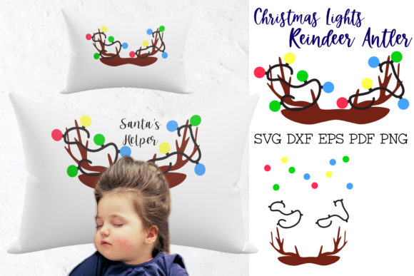 Print on Demand: Reindeer Antler with Christmas Lights Graphic 3D Christmas By NatashaPrando