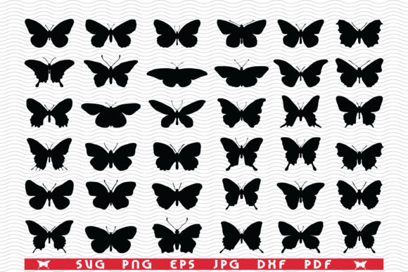 SVG Butterflies, Black Silhouettes Icons Graphic Icons By DesignStudioRM