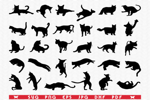 Cats, Black Silhouettes, Digital Graphic Icons By DesignStudioRM
