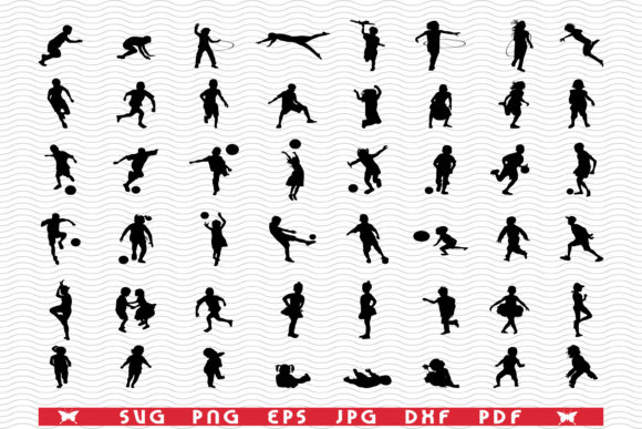 SVG Children Playing, Silhouettes Graphic Icons By DesignStudioRM
