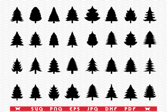 SVG Christmas Tree, Black Silhouettes Graphic Icons By DesignStudioRM