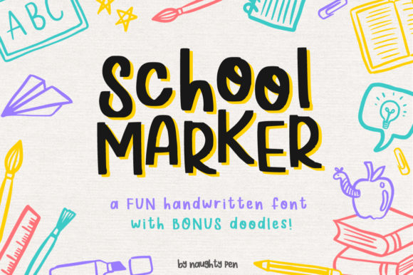 Print on Demand: School Marker Display Font By Naughty Pen