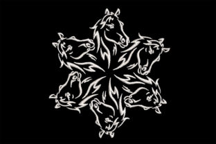 Print on Demand: Six Horses Mandala Horses Embroidery Design By Embroidery Shelter