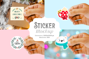 Print on Demand: Sticker Mockup Graphic Product Mockups By Pixtordesigns