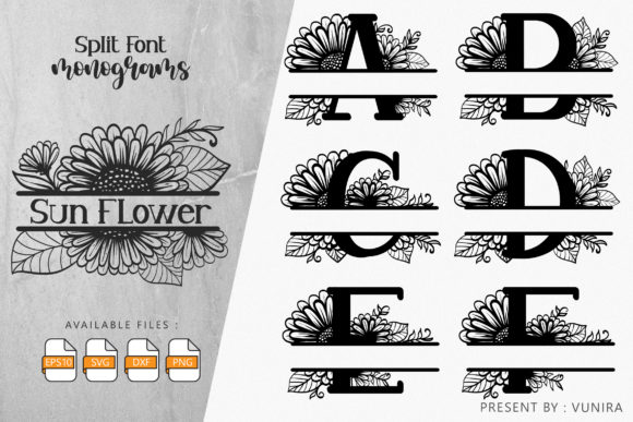 Print on Demand: Sunflower | Split Font Monogram Graphic Crafts By Vunira