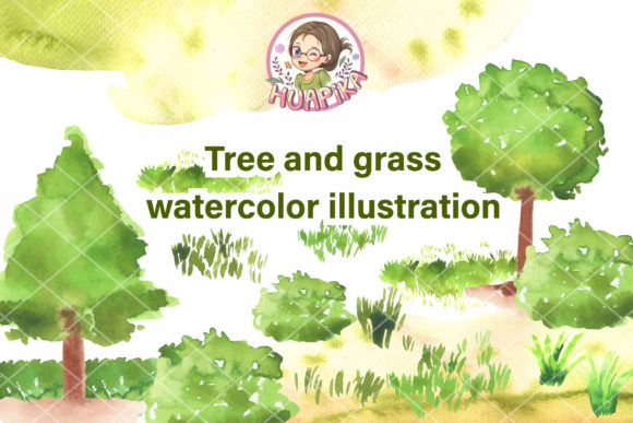 Tree and Grass Watercolor Illustration Graphic Illustrations By huapika