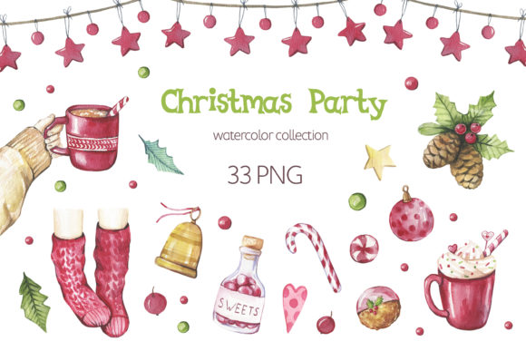 Watercolor Christmas Clipart. Graphic Illustrations By olesiafrolowa