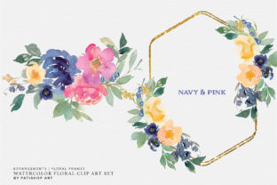 Watercolor Navy Pink Floral Clipart Set Graphic Illustrations By Patishop Art