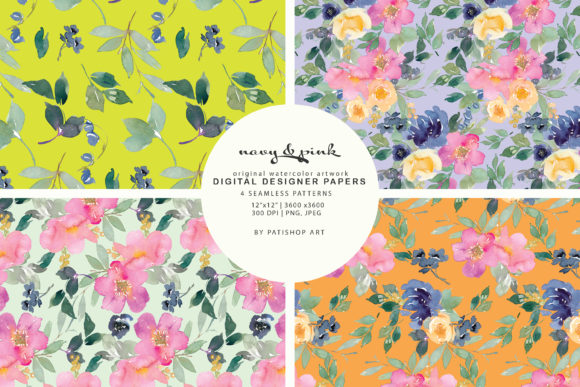 Watercolor Navy and Pink Floral Patterns Graphic Patterns By Patishop Art